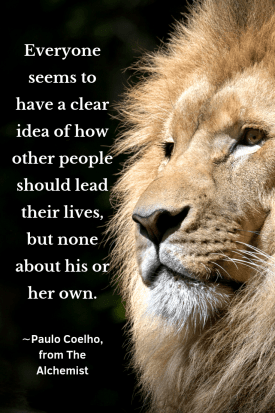 """A proud looking lion. Headline quote, """"""""Everyone seems to have a clear idea of how other people should lead their lives, but none about his or her own."""" ∼Paulo Coelho, The Alchemist"""