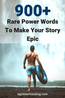 """A man holding a inner tube walking into a wall of water, headline """"900+ Rare Power Words to Make Your Story Epic """""""