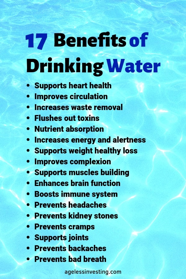 "Light blue water, headline ""Benefits of Drinking Water"" agelessinvesting.com"