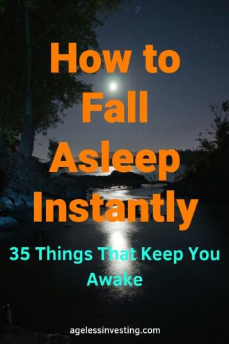 "The moon glowing over water, headline ""How to Fall Asleep Instantly 35 Things That Keep You Awake"""