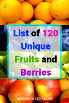 "A picture of oranges, blueberries, green grapes, and red apples. Headline, ""List of fruits and berries."""