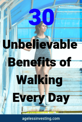 "A woman walking down a set of stairs, headline ""30 Unbelievable benefits of walking every day"""