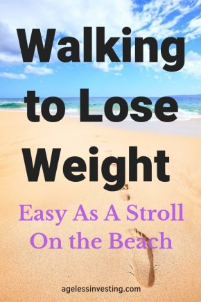 "Foot steps on a beach, headline ""Walking to lose weight: Easy As a Stroll on the Beach"""