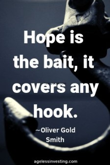 "An anchor against a gray background, headline quote,""Hope is the bait, it covers any hook."""