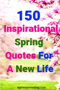 """Pink flowers blooming, headline """"Inspirational Spring Quotes For A New Life"""""""