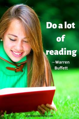 "A girl reading a book outside, headline quote ""Do a lot of reading."" -Warren Buffett"