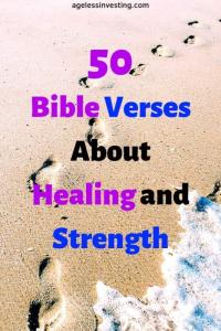 "Foot steps on a beach, headline ""50 Bible Verses About Healing and Strength"""