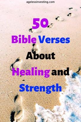 """Foot steps on a beach, headline """"50 Bible Verses About Healing and Strength"""""""