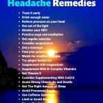 "A picture of a sun setting over water, headline ""25 Natural Migraine Remedies"""