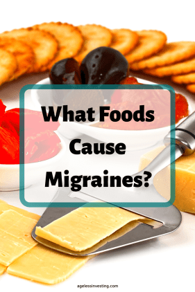 "A picture of sliced cheese and pepperoni, headline ""what foods cause migraines?"""