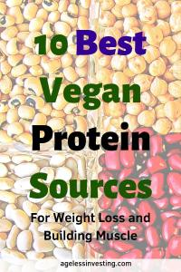 """A close uo of beens and legumes, headline """"10 Best Vegan Protein Sources for weight loss and building muscle"""""""