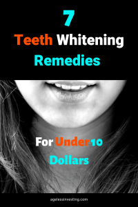 "Photo of a woman's smile, headline ""7 Teeth Whitening Remedies For Under 10 Dollars"""