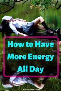 """Photo of a woman napping with a book on her face, headline """"How to have more energy all day"""""""