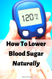 """A close up photo of a person checking their blood sugar with a blood sugar meter testing a drop of blood from their finger. Headline, """"How to Lower Blood Sugar Naturally"""""""