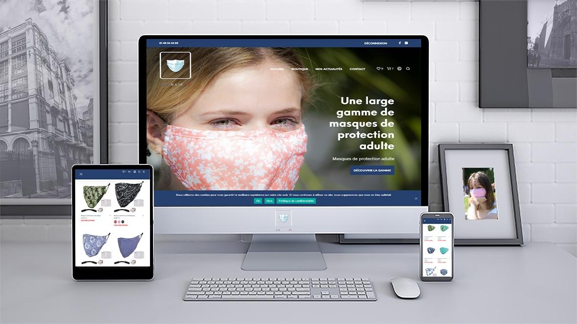 création de l' agence Artis communicationd'un site e-commerce pour des masques de protection covid