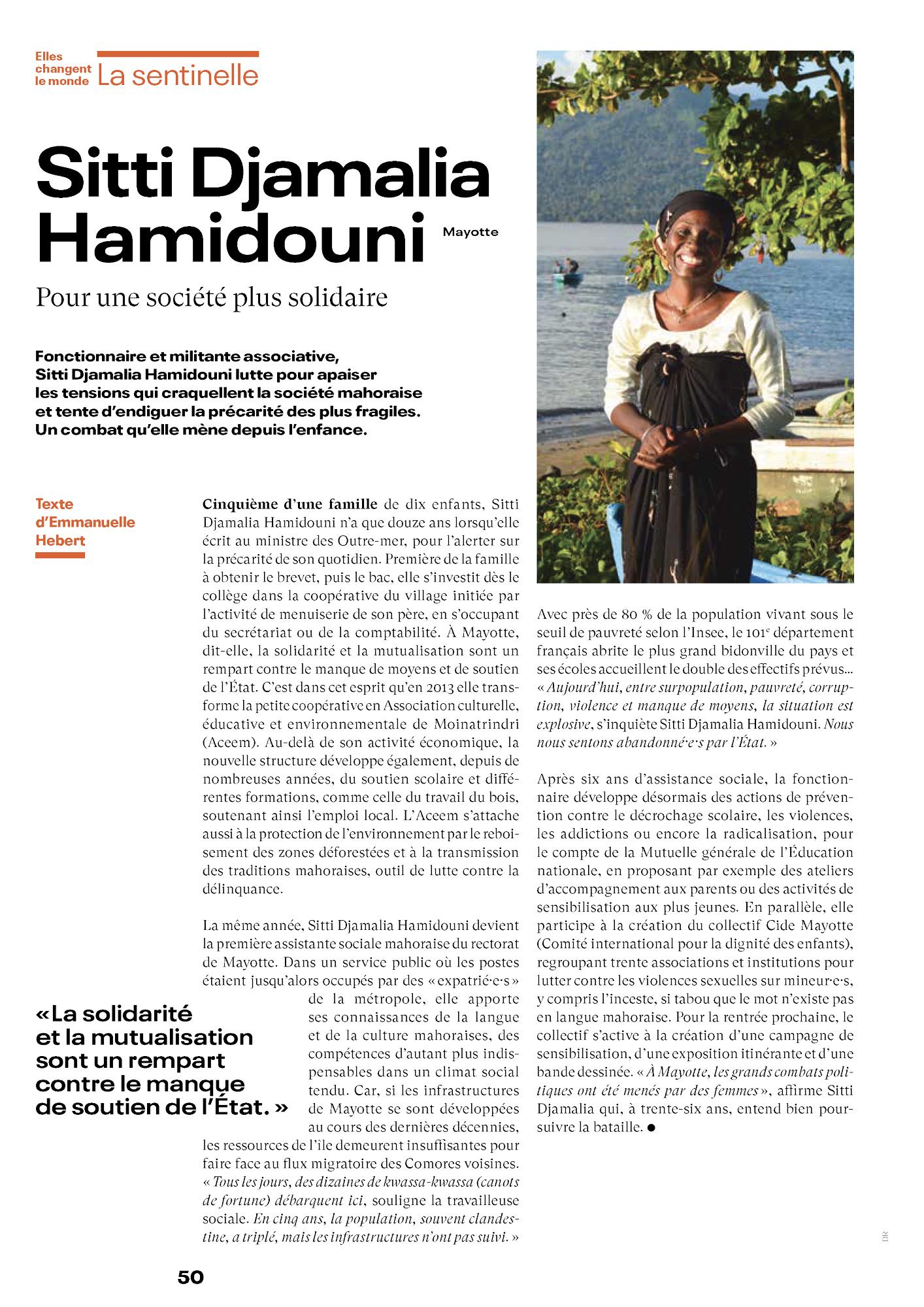 Sitti Djamalia Hamidouni (Mayotte) Pour une société plus solidaire FEMMES ICI ET AILLEURS #44 - Juillet-Août 2021