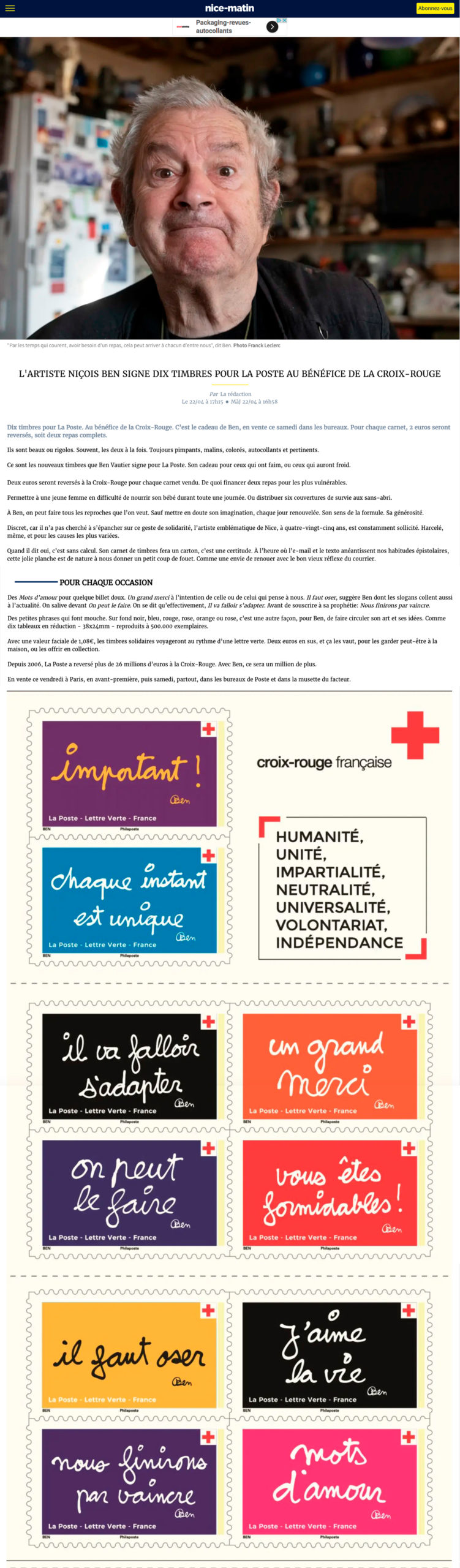 L'artiste niçois Ben signe dix timbres pour La Poste au profit de la Croix-Rouge française