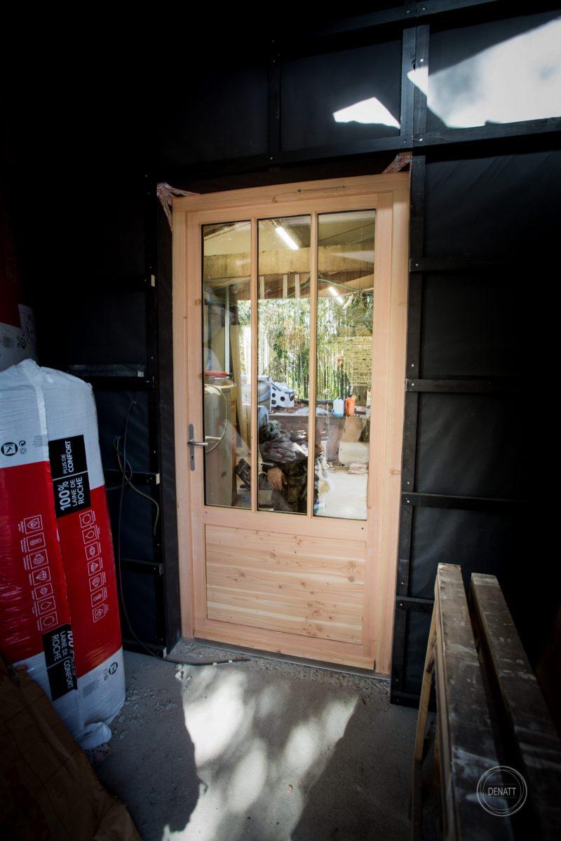 Porte bois exotique, extension maison Toulouse par atelier s41