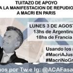 """""""Tuitazo internacional"""": """"así difunden la manifestación de argentinos en repudio a Mauricio Macri en París"""""""