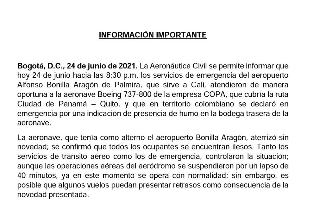 Emergencia en el Alfonso Bonilla Aragón por vuelo procedente de Panamá con destino Quito