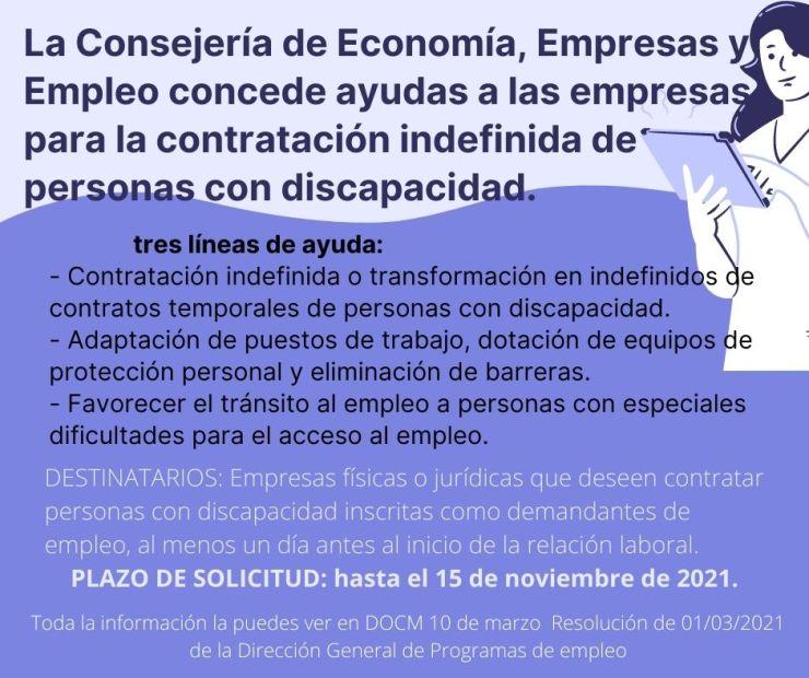 La Consejería de Economía, Empresas y Empleo concede ayudas a las empresas para la contratación indefinida de personas con discapacidad