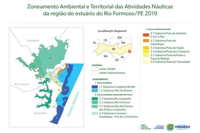 Mapa com a definição detalhada do novo zoneamento