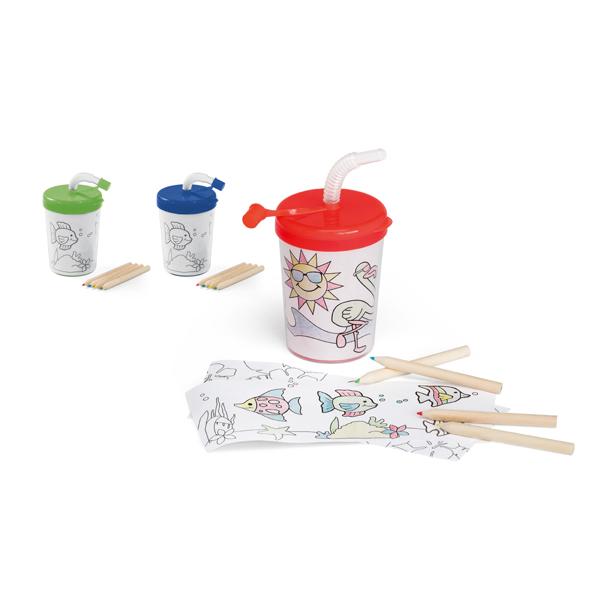 Vaso infantil de viaje con láminas para colorear
