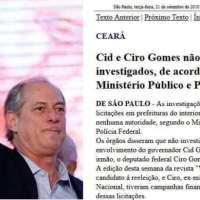 VEJA REPETE FAKENEWS CONTRA CIRO JÁ DESMENTIDA PELA POLICIA FEDERAL E PELO MINISTÉRIO PÚBLICO