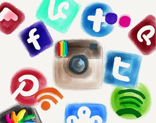 Iconos piceladas de Las Redes Sociales