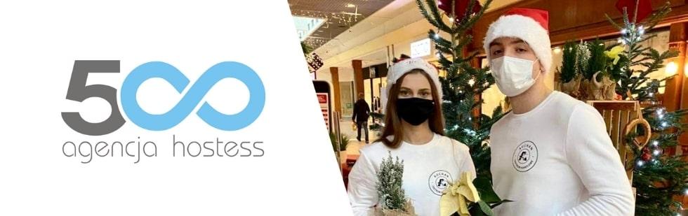 hostessa i host na akcji świątecznej Auchan