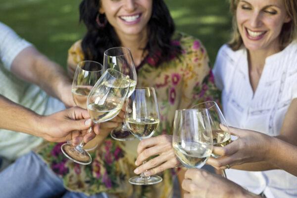 women drinking wine retreat