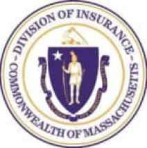 """Massachusetts Division of Insurance official seal with the seal of Massachusetts surrounded by the words """"Division of Insurance"""" and """"Commonwealth of Massachusetts"""" on rim of the seal"""