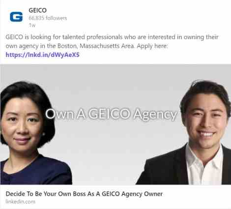 If You Can T Beat Em Join Em Geico Hiring Agents In