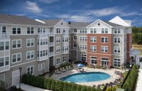 Picture on pool and apartments at Southfield Commons in Weymouth MA