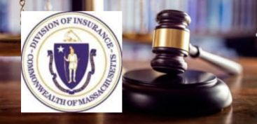 Massachusetts Division of Insurance logo with seal of Massachusetts set inside the image of a judicial gavel.