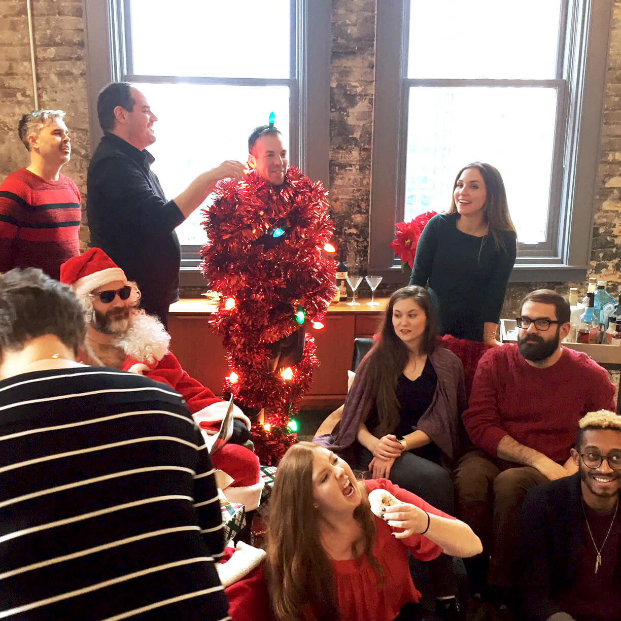 Behind the scenes of holiday card shoot.