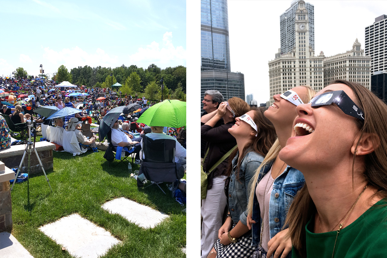 Solar Eclipse Crowd Chicago