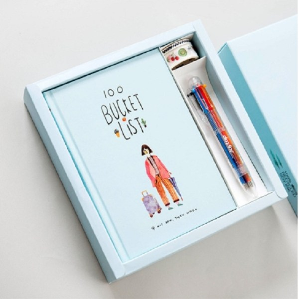 Planner Agenda Scheduler Notebook Stationery Gift with Pen & Stickers(Sky Blue)