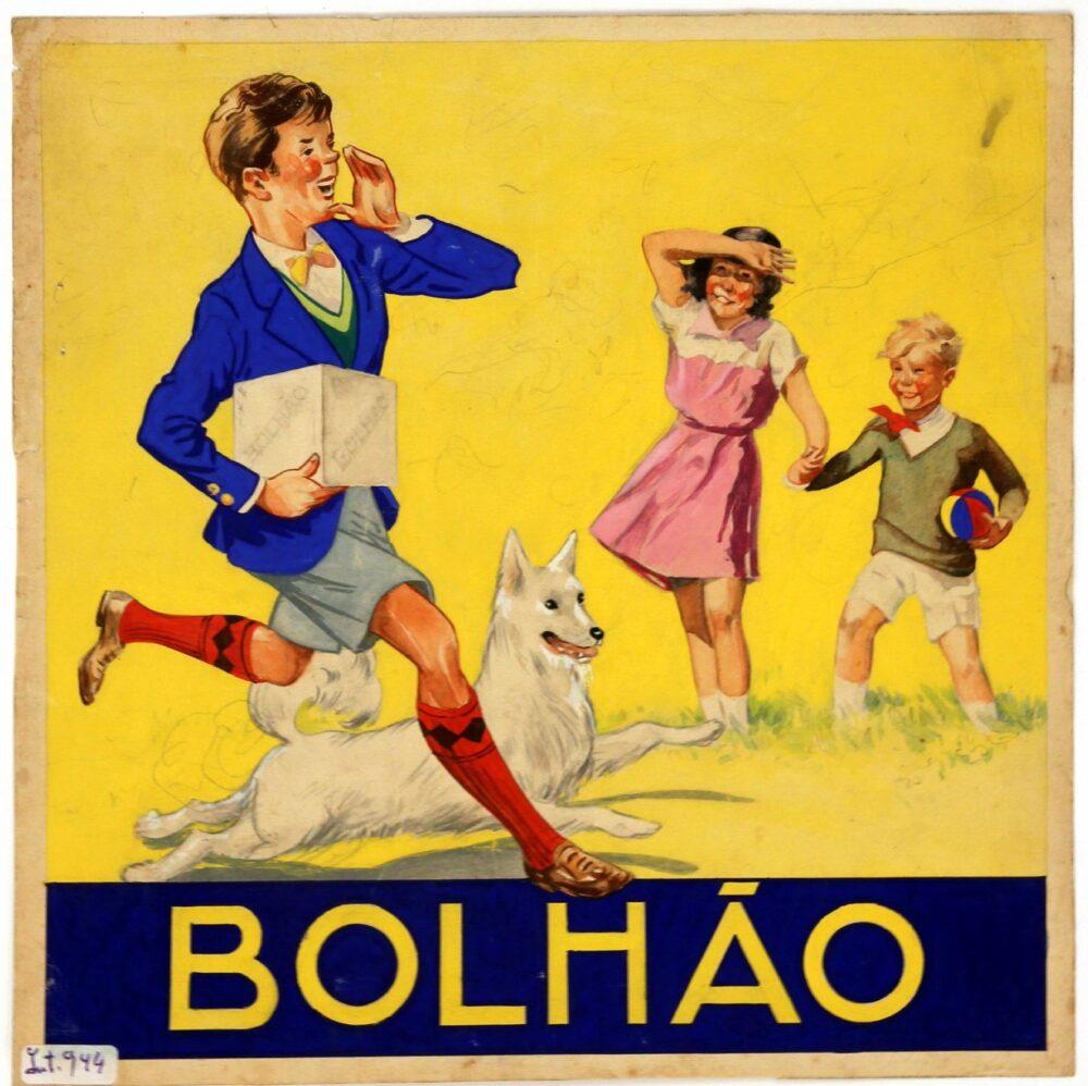 Estudo a aguarela para publicidade à marca de bolachas e biscoitos Bolhão por António Cruz Caldas (1897-1975), c.1930