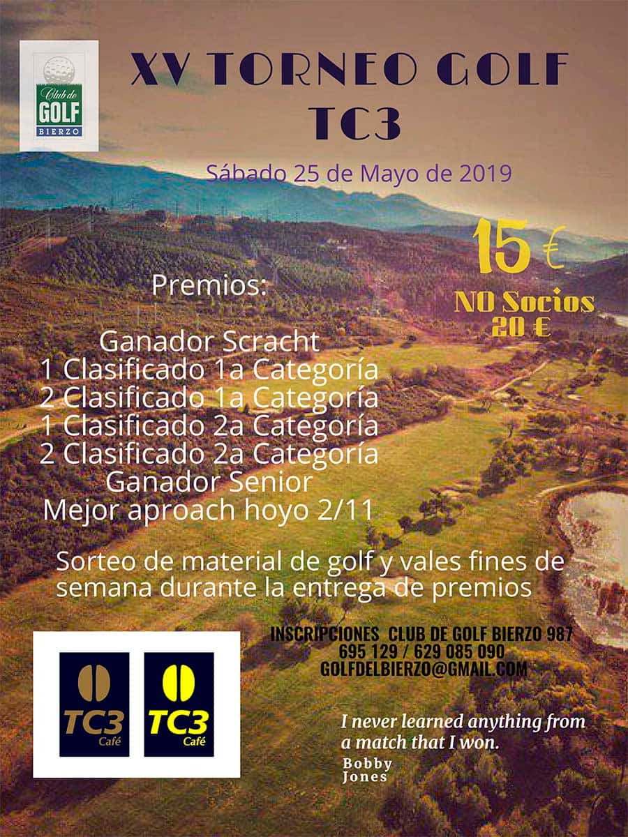 cartel torneo golf tc3 club golf bierzo