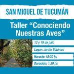 12 y 19 de Julio – Taller: Conociendo nuestras aves