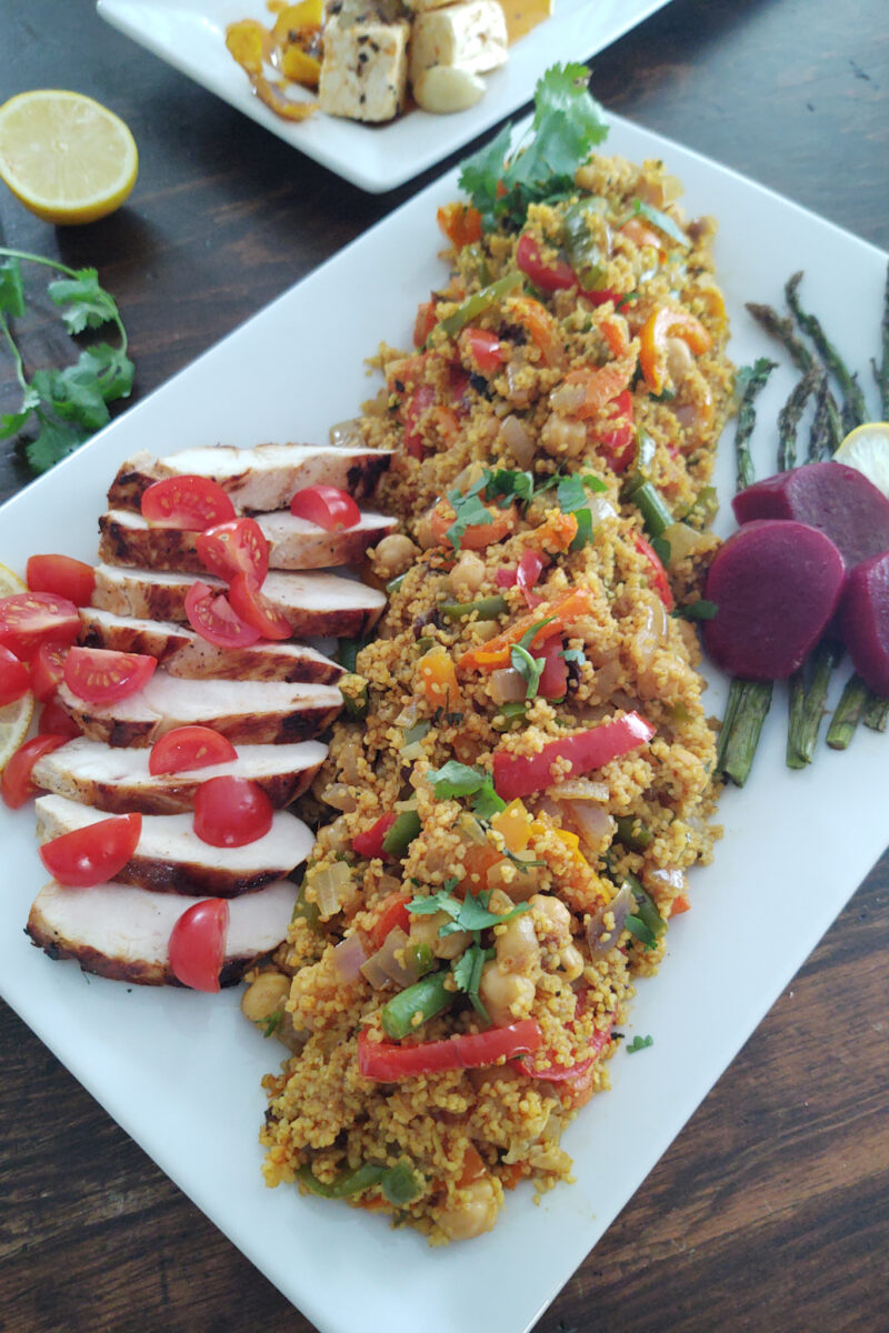 Moroccan Vegetable Couscous with chicken beets and feta