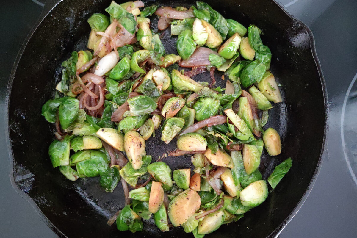 Brussel Sprouts Carbonara with Onion - cooking