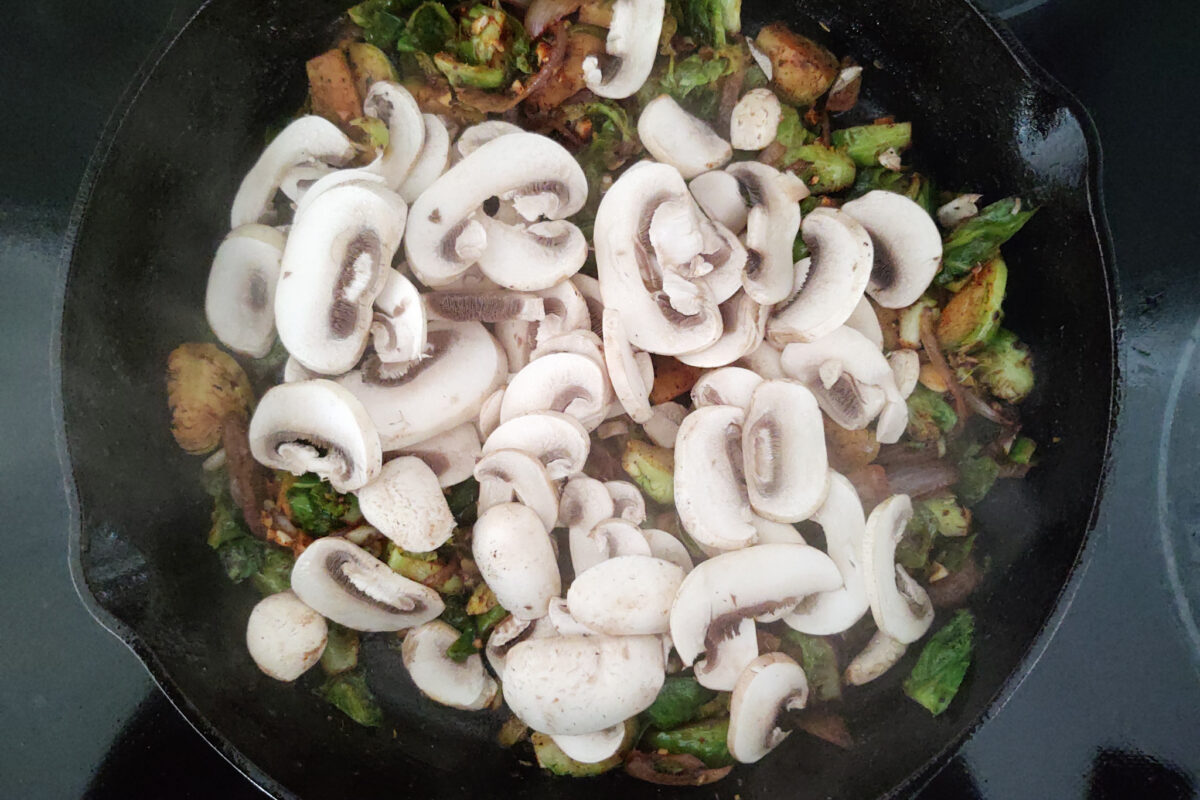 Brussels Sprouts Carbonara with Mushrooms - cooking