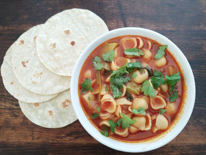Everyday Mexican Soup in White Bowl with Tortillas