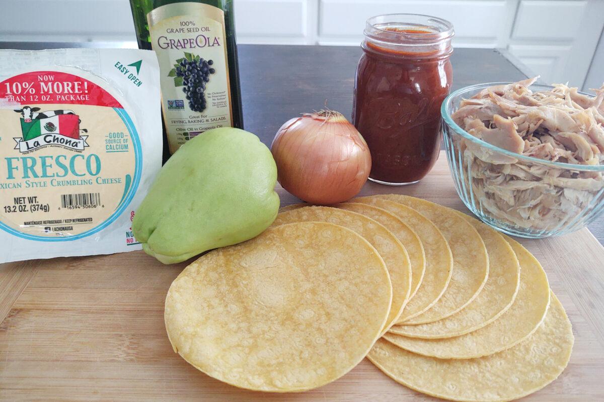 Ingredients for chicken chayote red enchiladas