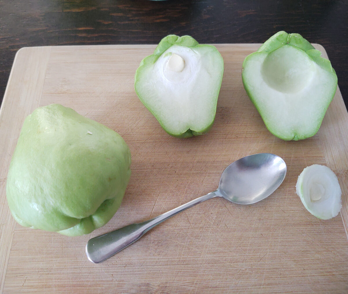 cleaned and cut open chayote