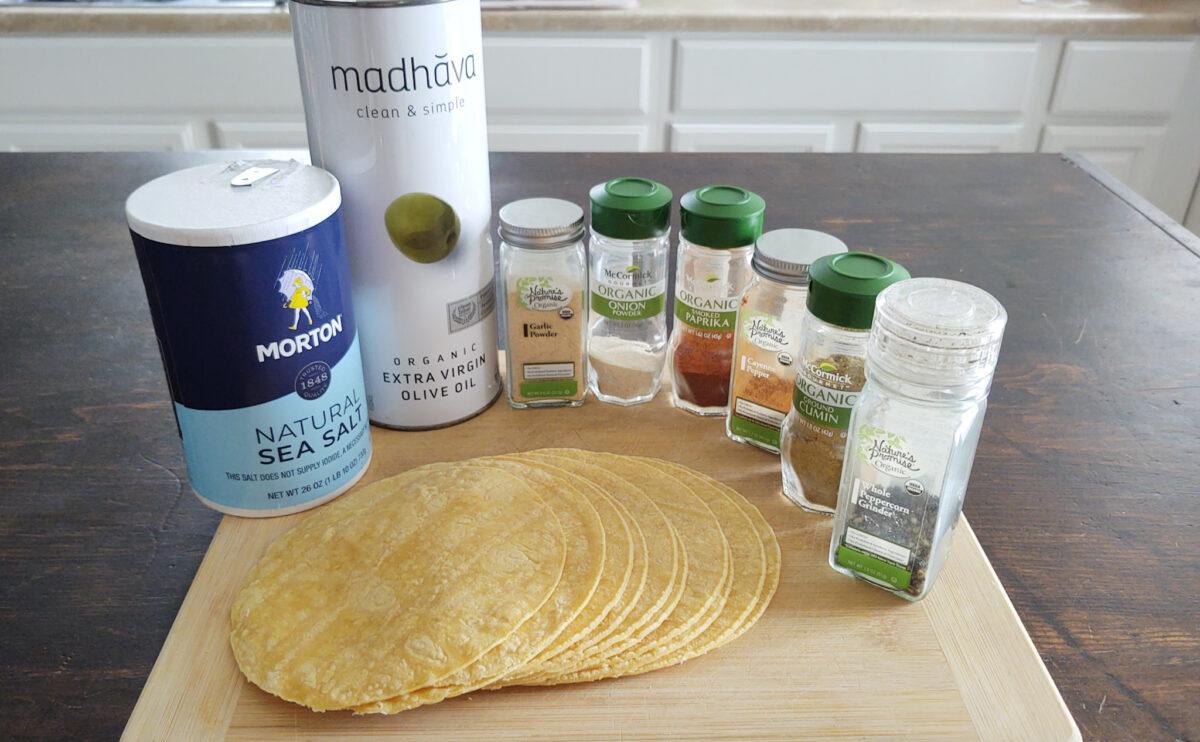 Ingredients on display for seasoned baked tortilla strips