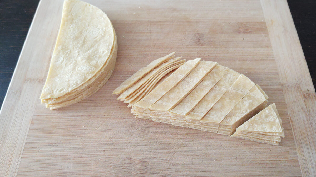 corn tortillas cut into strips prior to seasoning and baking