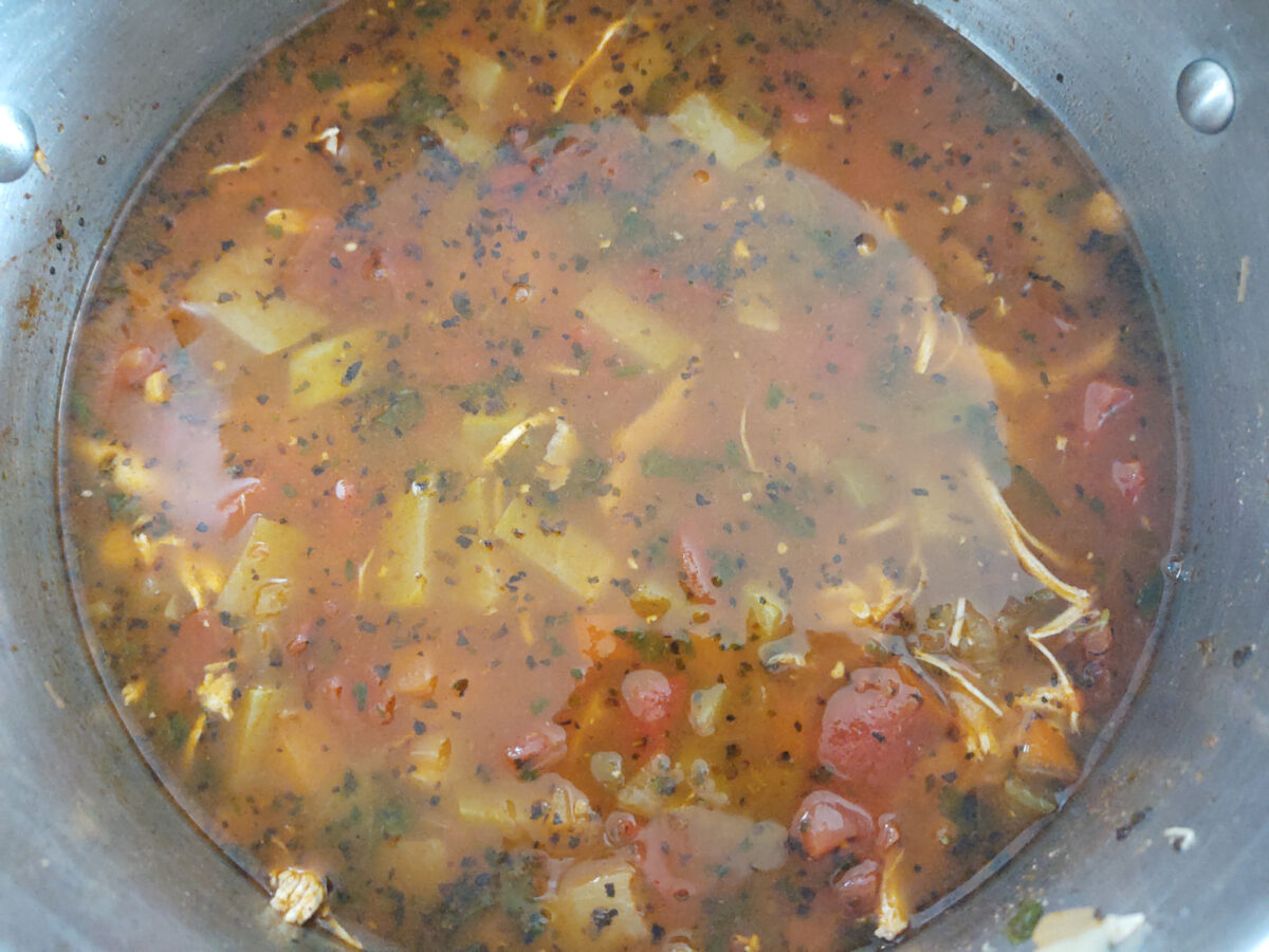 finished chicken tortilla soup in the stock pot
